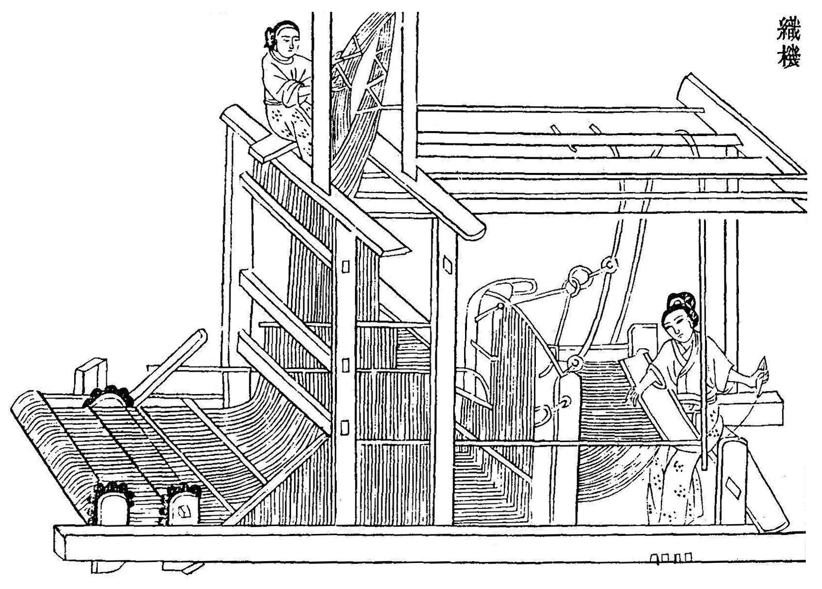 Woodblock print of a Chinese drawloom